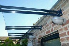 Edelstahl Vordach Träger inkl Kantenschutz für 120cm tiefes VSG bis 17 mm stärke