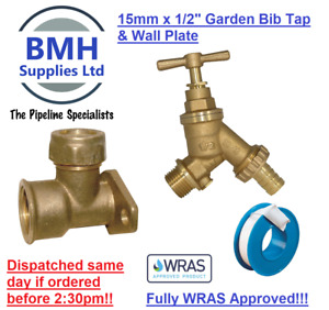 """Garden Bib Tap 15mm x 1/2"""" / Wall Plate Elbow Compression Outdoor Tap Free Del!!"""