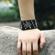 Fashion Men Punk Black Brown Genuine Leather Bracelet Bangle Wristband Cuff Wrap