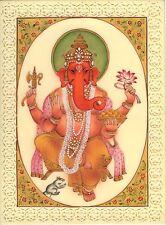 Lord Ganesh Art Handmade Indian Hindu Miniature Religious Ganesha Decor Painting