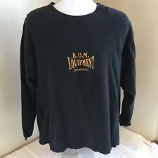 Vtg Mens BUM EquipmenT Knit Shirt Black w Embroidered Gold Logo Large USA Made