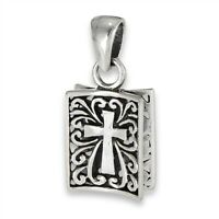 Sterling Silver Christian Fish pendant Ichthus charm Cross 2 sided