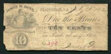 1862 10 CENTS JAMES M. DUNN DRY GOODS & GROCERIES PLAINFIELD, NJ OBSOLETE SCRIP