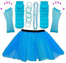 NEW WOMEN'S NEON TUTU SKIRT HEN PARTY 80'S FANCY DRESS ACCESSORIES BANGLES BLUE