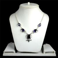 Amethyst,Black Agate Gemstone 925 sterling silver overlay necklace