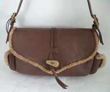 HIDESIGN BROWN LEATHER AND SHEEPSKIN BAG HANDBAG DOUBLE STRAP