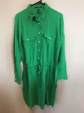 Lauren Ralph Lauren Long Sleeve Green Shirt Dress, Sz 16, Viscose, Button Down