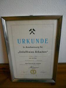 Seltene Urkunde gerahmt Braunkohle Bergbau Tagebau Gräfenhainichen DDR 1974