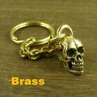 Unique Edition Solid Brass Skull Gold Key Chain Keychain ring pendant Punk Biker