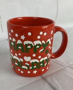 Happy Holidays Red Coffee Mug Tea Cup 12oz Waechtersbach Germany