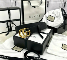 Authentic GUCCI Gold Double G Buckle Black Pebbled Leather Adjustable Belt