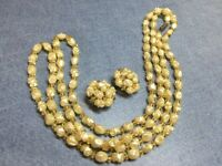Vintage Pale Yellow BEADed NECKLACE  AND CLIP EARRING SET VINTAGE ESTATE