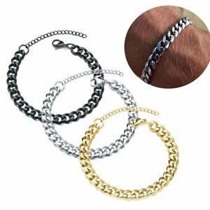 Women's 3/5/7mm Stainless Steel Fashion Classic Wide Chain Men's Bracelet Cuban