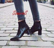BLOGGERS FAV! ZARA BLACK EMBOSSED LEATHER CROC MID HEEL ANKLE BOOTS, UK 4 EUR 37