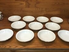 """11 Vtg. Noritake 5594 SILVERDALE 7 1/4""""  Coupe Soup Bowls White w/Platinum Trim"""