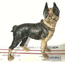 VTG. 1930's STANDING BOSTON TERRIER CAST IRON DOG statue DOORSTOP door stop art