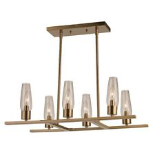 Trans Globe Salinas 6 Light Pendant, Antique Gold with Clear - 71377AG