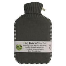 Öko Wärmflasche 2 Liter Gummi Strickbezug Grau Bettflasche Überbezug Wärmkissen