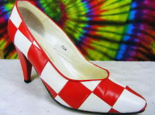 7.5 B vtg 80s red & white checkered heels pumps shoes