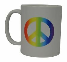 Best Coffee Mug Rainbow Peace Sign Love Gay Pride Novelty Cup Great Gift Idea