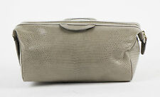 New. BRIONI Asphalt Gray Lizard Leather Toiletry Beauty Bag $2450