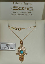 Collana veneziana e ciondolo portafortuna mano di fatima in oro 750 18 kt. Gr 2