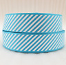 "7/8"" (22mm) Grosgrain Ribbon  - by the meter - #4045 Blue Diagonal Stripe"