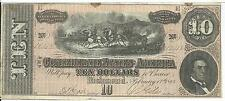 CSA 1864 Confederate Currency T68 $10 Note Horses pull Cannon Caisson #12312 VF