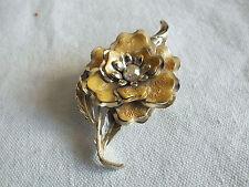 Beautiful Brooch Pin Gold Tone Flower Shape Gold Enamel AB Rhinestone 3 x 1 3/4
