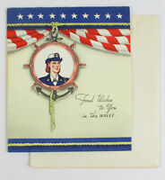 1940s FEMALE WWII NAVY Greeting Card NOS Unused Women Military Sailor JP T-3139