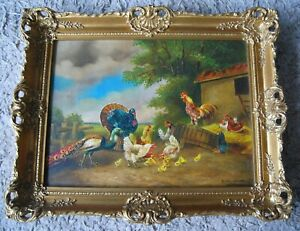 "Mid 20th/C Farmyard Scene ""Poultry & Chicks"" (Kaudetzky 1898-1964)"