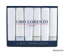 UMO LORENZO 6 PK Mens Multi Cotton Handkerchiefs NIB