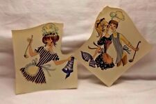2 CUTE Vintage Craft Cooking Couple & Maid Water Mount Decal Transfers UNIQUE