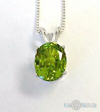 925 Sterling Silver pendant created 3 ct. Peridot Chain Necklace. @