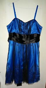 """City Chic"" Blue/Black Mesh Cocktail Dress, Size M, (Broken Zip)"
