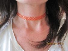 orange/hennha tattoo choker stretchy necklece boho/retro 80's 90's