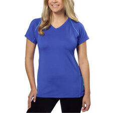 a96e1908c692fe Kirkland Women s Striped Active Yoga V-Neck Tee Shirt - Blue - Size Small