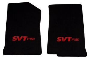 NEW! 1999 - 2001 Black Floor Mats Ford F-150 with SVT Embroidered logo Red Pair