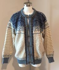 Women Dale of Norway Wool Cardigan Blue Fair Isle Sweater Silver Clasps Large L