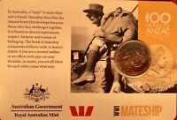 2015 anzacs remembered 20 Cent Australian Coin MATESHIP WW1