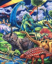 Dinosaur Jurassic Time Kid Craft Quilting Fabric Panel Cotton Multicolour Print