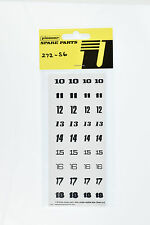 Pioneer 1/32 Scale Slot Car Numbers 10-18 Sticker Sheet 272-S6