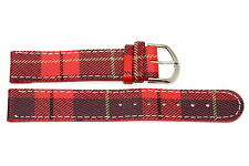 14mm Red Plaid Print Stitched Watch Band Strap