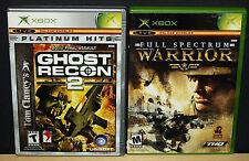 GHOST RECON 2 & FULL SPECTRUM WARRIOR (Microsoft XBOX) Read Description