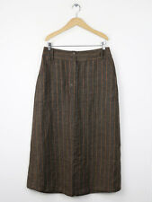 Weekend By Max Mara Womens Cocoa Pinstriped Linen Skirt Size 12