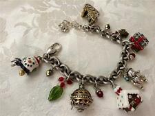 Brighton Frolic Christmas bracelet 7 charms chain 6 beads silver plated