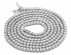925 Sterling Silver Finish 1 Cubic Zirconia Chain Necklace 3.5MM 34 ins 2.25TCt
