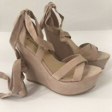 Just Fab Ladies Sandal Heels Lace Up Wedges Tan Blush Sz 8. New without Box.