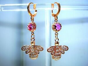 RUBY & CZ ENCRUSTED BEE EARRINGS WITH ROSE GOLD PLATED FITTINGS.
