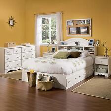 4-Piece Full Creme White Storage Bed Bedroom Bookcase Headboard Furniture Set